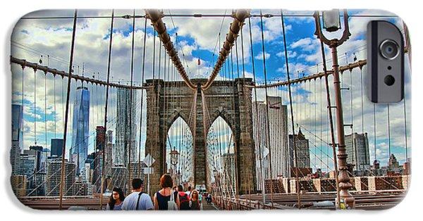 Pathway iPhone Cases - Brooklyn Bridge Walkway iPhone Case by Allen Beatty