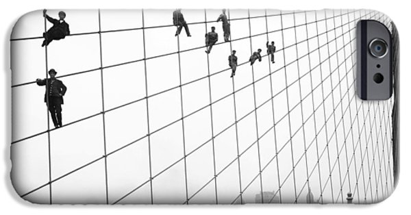 Painter Photo Paintings iPhone Cases - Brooklyn bridge workers iPhone Case by Celestial Images