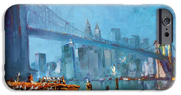 City Scape Paintings iPhone Cases - Brooklyn Bridge iPhone Case by Ylli Haruni