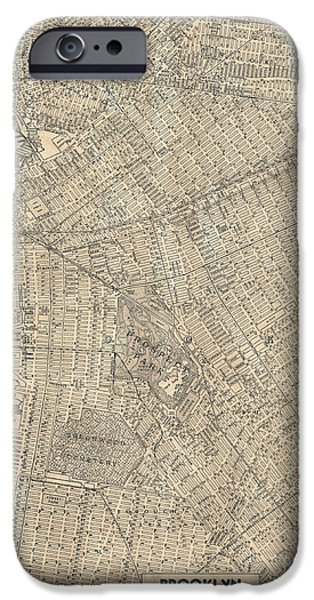 Old Digital Art iPhone Cases - Brooklyn New York Antique Vintage City Map iPhone Case by ELITE IMAGE photography By Chad McDermott