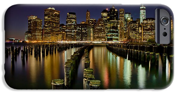 Midtown iPhone Cases - Brooklyn Pier At Night iPhone Case by Az Jackson