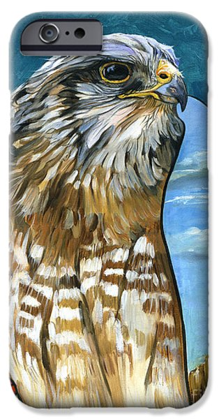 Spirit Hawk iPhone Cases - Brother Hawk iPhone Case by J W Baker