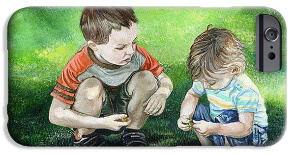Innocence Paintings iPhone Cases - Brothers iPhone Case by Michelle Sheppard