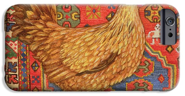 Persian Carpet iPhone Cases - Brown Carpet Chicken iPhone Case by Ditz