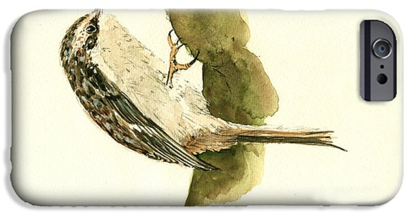 Small Paintings iPhone Cases - Brown creeper iPhone Case by Juan  Bosco