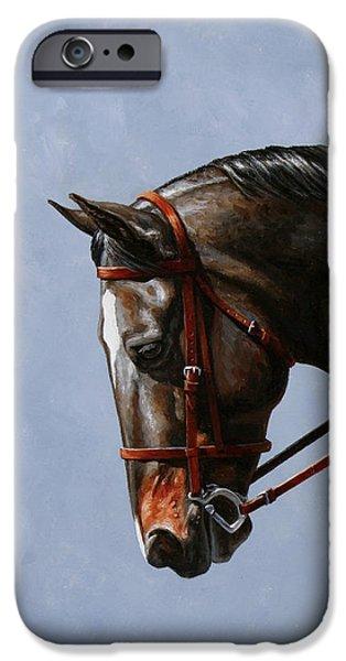 Horseback Riding iPhone Cases - Brown Dressage Horse Phone Case iPhone Case by Crista Forest