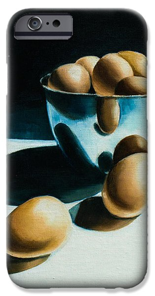 Stainless Steel Paintings iPhone Cases - Brown Eggs iPhone Case by Mary Strange Blossom