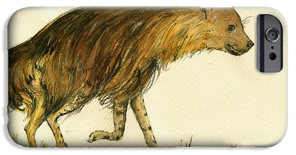 Safari Prints iPhone Cases - Brown hyena animal art iPhone Case by Juan  Bosco