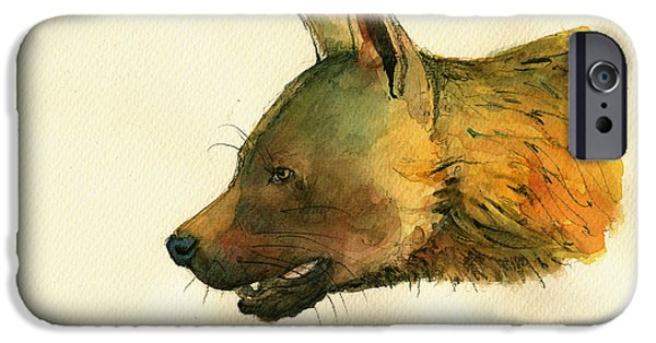 Safari Prints iPhone Cases - Brown hyena iPhone Case by Juan  Bosco
