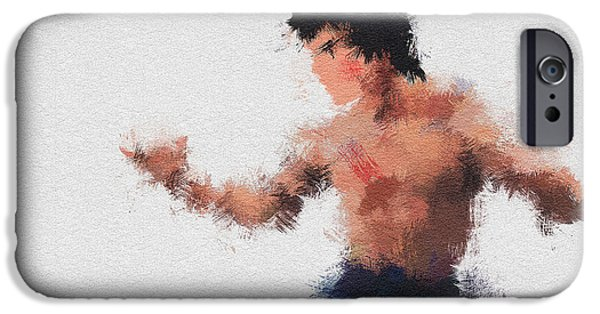 Bruce Paintings iPhone Cases - Bruce Lee iPhone Case by Miranda Sether