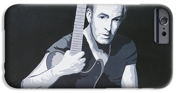 Bruce Springsteen Paintings iPhone Cases - Bruce Springsteen iPhone Case by Ken Jolly