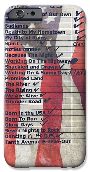 E Street Band iPhone Cases - Bruce Springsteen Setlist at Rock in Rio Lisboa 2012 iPhone Case by Marco Oliveira