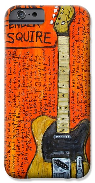 E Street Band Paintings iPhone Cases - Bruce Springsteens Fender Esquire iPhone Case by Karl Haglund