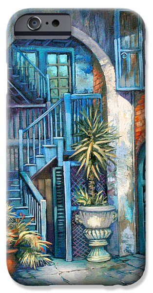 Park Scene iPhone Cases - Brulatour Courtyard iPhone Case by Dianne Parks