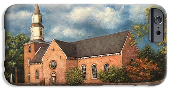 Yorktown Virginia Paintings iPhone Cases - Bruton Parish Church iPhone Case by Gulay Berryman