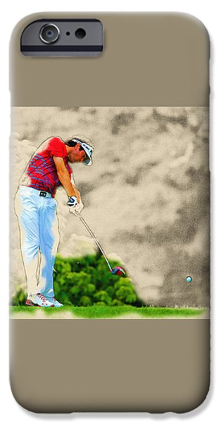 Michelle iPhone Cases - Bubba Watson hits his tee shot iPhone Case by Don Kuing