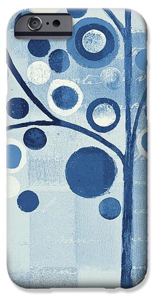 Monochrome Mixed Media iPhone Cases - Bubble Tree - s290-01l - Blue iPhone Case by Variance Collections