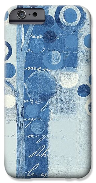 Monochrome Mixed Media iPhone Cases - Bubble Tree - s290-01r - Blue iPhone Case by Variance Collections