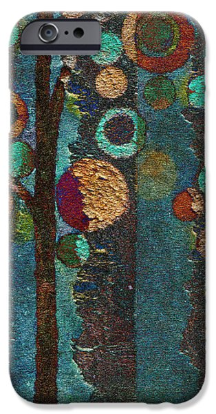 Red Abstract iPhone Cases - Bubble Tree - spc02bt05 - Right iPhone Case by Variance Collections