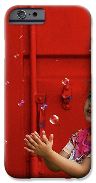 Bubbling Girl iPhone Case by Aimelle