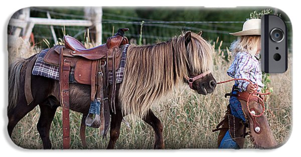 Horse Artist iPhone Cases - Buckaroo Cowgirl iPhone Case by Cindy Singleton