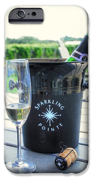 Table Wine iPhone Cases - Bucket of Sparkling iPhone Case by Linda Covino