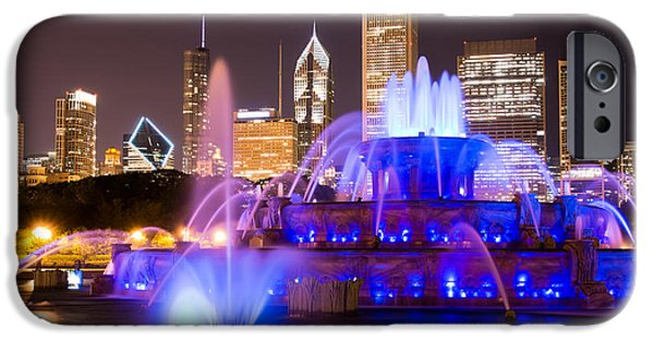 Evening iPhone Cases - Buckingham Fountain at Night with Chicago Skyline iPhone Case by Paul Velgos