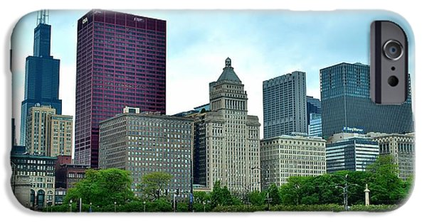 Sears Tower iPhone Cases - Buckingham Fountain Panoramic View iPhone Case by Frozen in Time Fine Art Photography