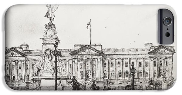 Pen And Ink Drawing Drawings iPhone Cases - Buckingham Palace iPhone Case by Vincent Alexander Booth