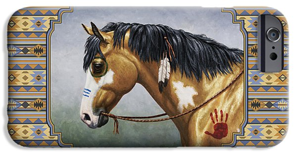 Pinto Paintings iPhone Cases - Buckskin Native American War Horse Southwest iPhone Case by Crista Forest