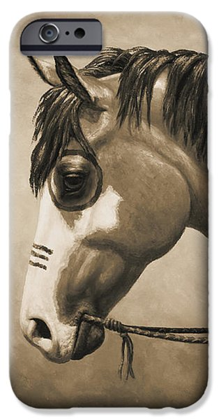 Overo iPhone Cases - Buckskin War Horse in Sepia iPhone Case by Crista Forest