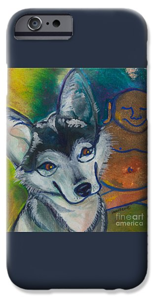 Husky iPhone Cases - Buddha and the Divine Husky No. 1327 iPhone Case by Ilisa  Millermoon