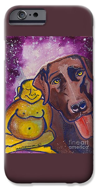 Chocolate Lab Paintings iPhone Cases - Buddha and the Divine Chocolate Lab No. 1329 iPhone Case by Ilisa  Millermoon