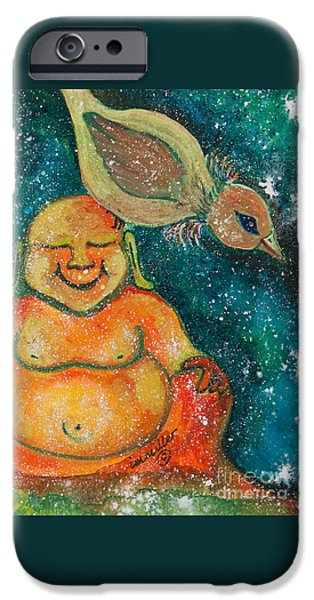 Nature Divine iPhone Cases - Buddha and the Divine Sparrow No. 1240 iPhone Case by Ilisa  Millermoon