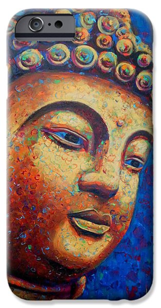 Statue Portrait iPhone Cases - Buddha iPhone Case by Angie Wright