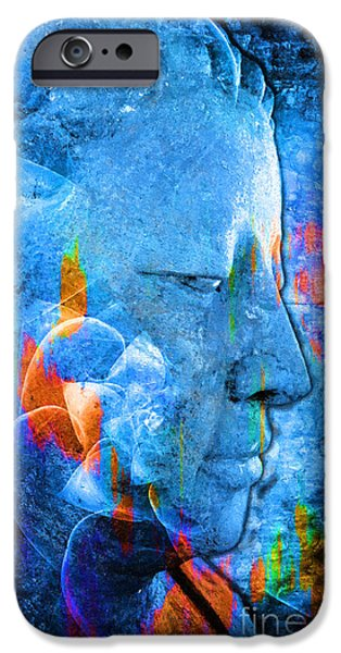 Statue Portrait iPhone Cases - Buddha Coral iPhone Case by Khalil Houri