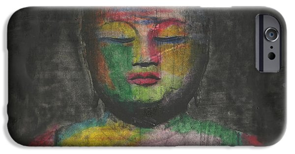 Buddhism Mixed Media iPhone Cases - Buddha Encaustic Painting iPhone Case by Edward Fielding