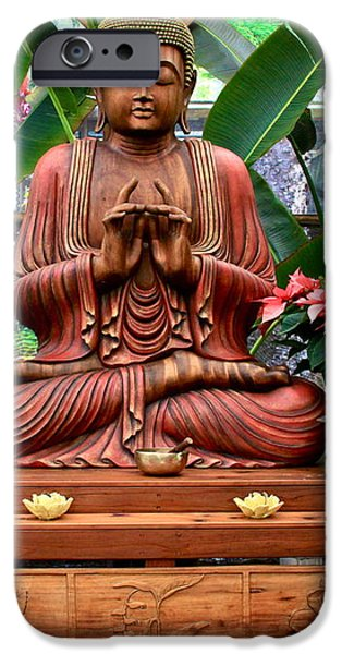 Buddha Enlightenment - The Sacred Garden iPhone Case by Karon Melillo DeVega