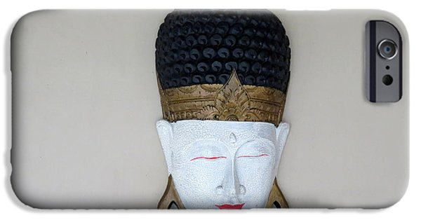 Statue Portrait iPhone Cases - Buddha in Bali iPhone Case by Cindy Kellogg