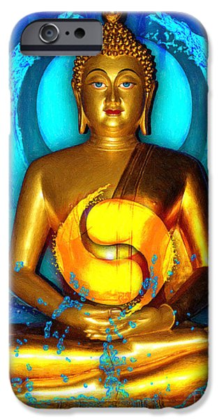 Tibet iPhone Cases - Buddha Yin Yang iPhone Case by Khalil Houri