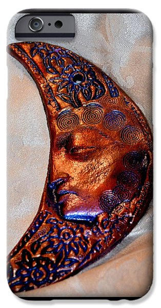 Moon Ceramics iPhone Cases - BuddhaMoon  iPhone Case by Susanne Still