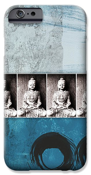 Contemporary Abstract iPhone Cases - Buddhas In Blue- Contemporary Art by Linda Woods. iPhone Case by Linda Woods