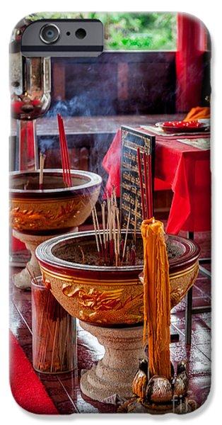 Buddhist Digital Art iPhone Cases - Buddhist Incense iPhone Case by Adrian Evans