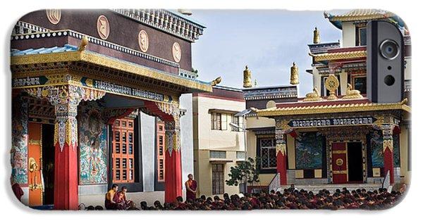 Tibetan Buddhism iPhone Cases - Buddhist Monastery in full attendance iPhone Case by Nila Newsom