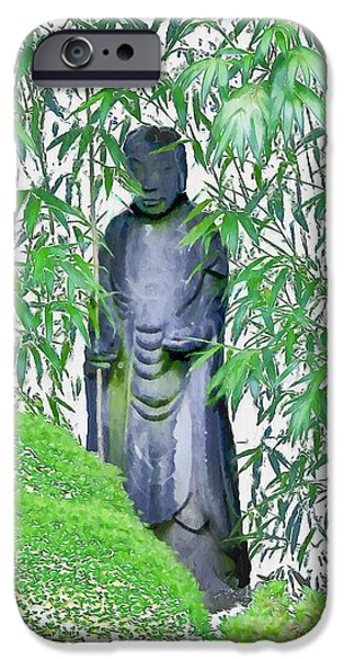 Bamboo Leaves iPhone Cases - Buddhist Monk iPhone Case by Bill Cannon