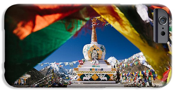Tibetan Buddhism iPhone Cases - Buddhist Stupa surrounded by prayer flags in Indian Himalayas of Ladakh iPhone Case by Quynh Anh Nguyen