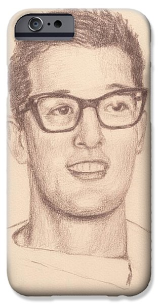 Stratocaster Drawings iPhone Cases - Buddy Holly iPhone Case by Reggie Rivera