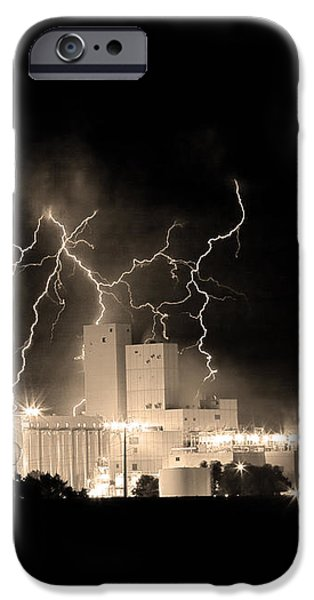 Budweiser Lightning Thunderstorm Moving Out BW Sepia Crop iPhone Case by James BO  Insogna