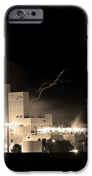 Budwesier Brewery Lightning Thunderstorm Image 3918  BW Sepia Im iPhone Case by James BO  Insogna