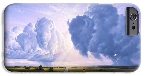 Storm Paintings iPhone Cases - Buffalo Crossing iPhone Case by Jerry LoFaro